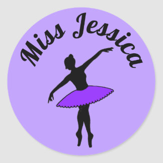 Purple Ballerina Ballet Dance Teacher Pointe Tutu Classic Round Sticker