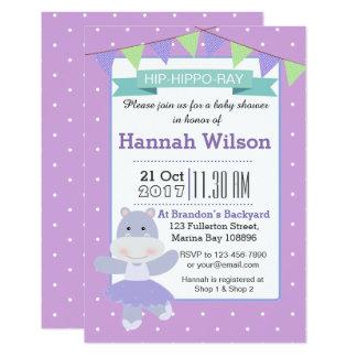 Purple Ballerina Hippo Baby Shower invitation