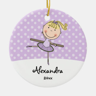 Purple Ballerina Snowflakes Personalized Christmas Ceramic Ornament
