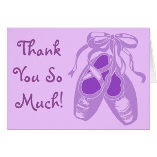 Purple Ballet Shoes Lavender Thank You Card