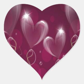 Purple Ballons Hearts Format, Birthday Heart Sticker