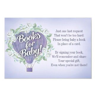 Purple Balloon Baby Shower Book Card Bring A Book