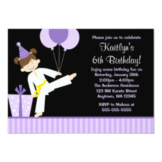 Purple Balloons Taekwondo Karate Girl Birthday Card