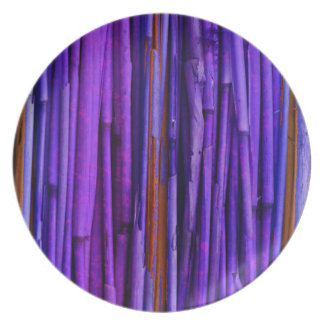 Purple Bamboo Abstract Art Party Plate