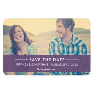 Purple Banner Design Photo Save The Date Magnet