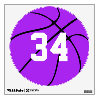 Purple Basketball Custom Jersey Number Wall Decals