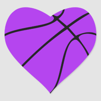 Purple Basketball Heart Decorative Stickers