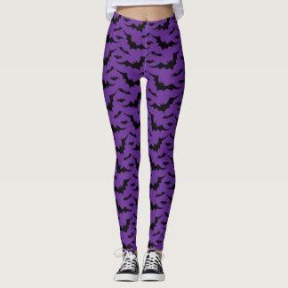 Purple Bat Pattern Leggings