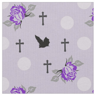 Purple Bats and Roses Goth Fabric By The Yard