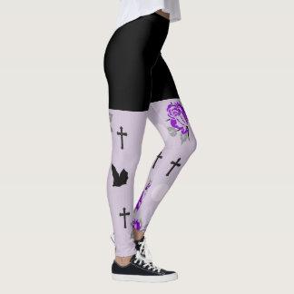 Purple Bats and Roses Goth Leggings