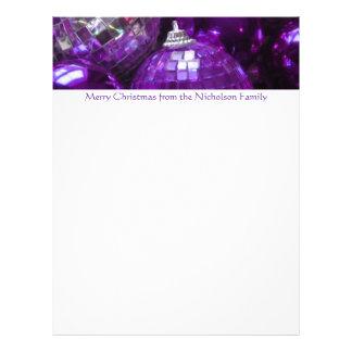 Purple Baubles letterhead purple text