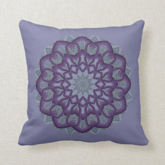Purple Bead-work Flower Throw Pillow
