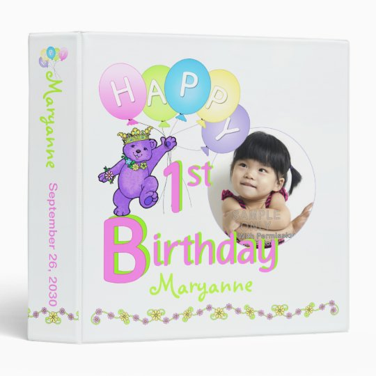 Purple Bear 1st Birthday Memories 1.5 Inch Vinyl Binders