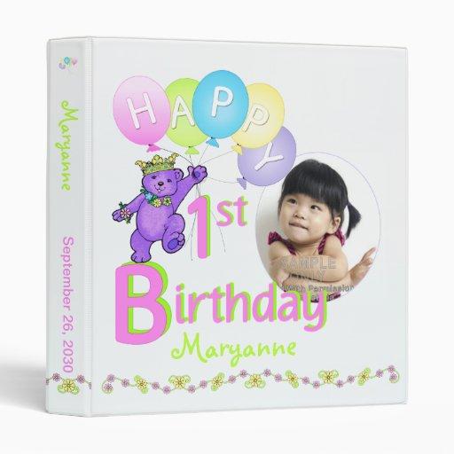 Purple Bear 1st Birthday Memories 1 Inch Binders
