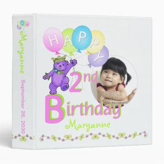 Purple Bear 2nd Birthday Memories 1.5 Inch Vinyl Binder