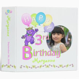 Purple Bear 3rd Birthday Memories 2 Inch Vinyl Binders