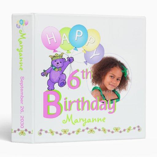 Purple Bear 6th Birthday Memories 1.5 Inch 3 Ring Binder