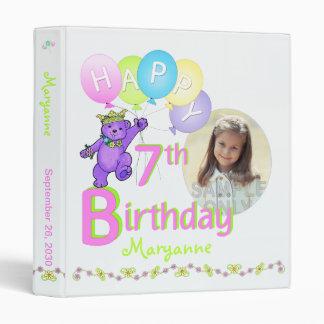 Purple Bear 7th Birthday Memories 1 Inch Binders