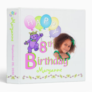 Purple Bear 8th Birthday Memories 1.5 Inch 3 Ring Binders