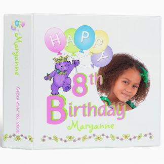 Purple Bear 8th Birthday Memories 2 Inch Vinyl Binder