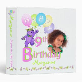 Purple Bear 9th Birthday Memories 1.5 Inch Binder