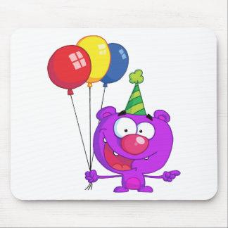 Purple bear wearing holding Birthday Balloons Mouse Pad