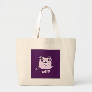 purple bear wtf large tote bag