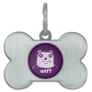 purple bear wtf pet name tag