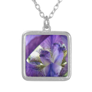 Purple Bearded Iris Flower Floral Macro Silver Plated Necklace