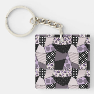Purple Beautiful Country Patchwork Quilt Single-Sided Square Acrylic Keychain