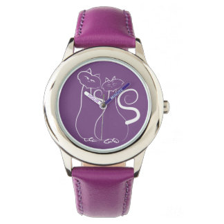 Purple Beautiful Love Sketch Couple Cats Simple Watch