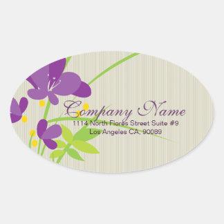 Purple Beige And Green Flower Illustration Oval Sticker