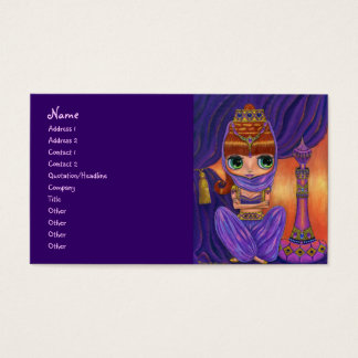 Purple Belly Dancer Genie Girl with Magic Bottle Business Card
