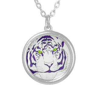 Purple Bengal Tiger Silver Plated Necklace