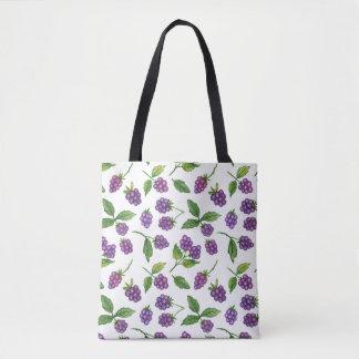 Purple Berries Custom Background Color Tote Bag
