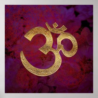 purple berry floral OM Poster Yoga Meditation
