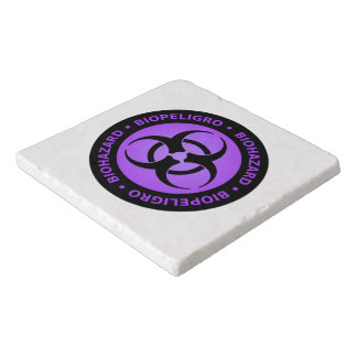 Purple Biohazard Warning Sign Trivet