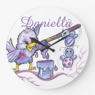 Purple Bird and Bees Kids Square Wall Clock