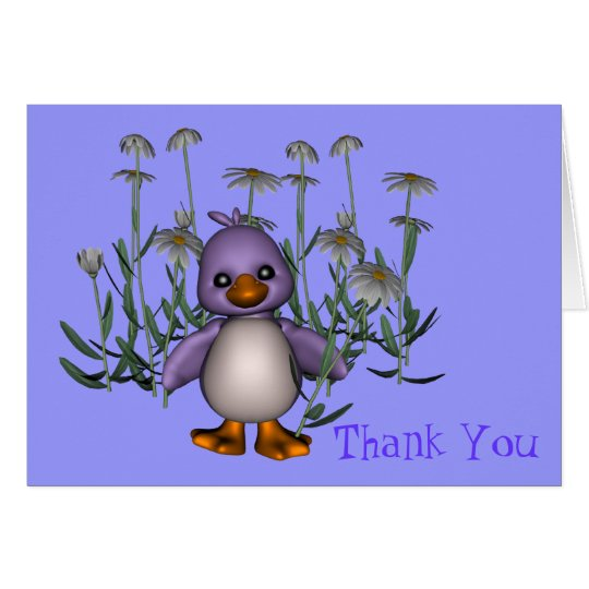 Purple Bird Daisy Flowers Cute Thank You Card