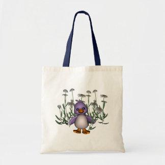 Purple Bird Daisy Flowers Cute Tote Bag