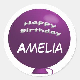 Purple Birthday Balloon Round Sticker
