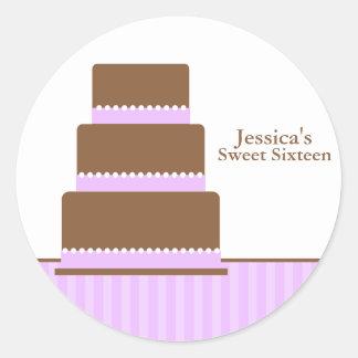 Purple Birthday Cake Envelope Seals Round Sticker
