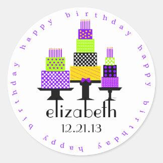 Purple Birthday Cakes Happy Birthday Round Sticker
