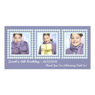 Purple Birthday Girl Thank You Photo Cards