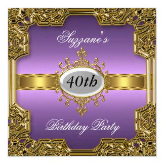 Purple Birthday Party Glamour Hot Invitation