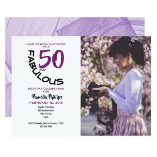 "Purple & Black ""50 and Fabulous"" Party Invitation"