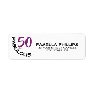 "Purple & Black ""50 and Fabulous"" Return Address"