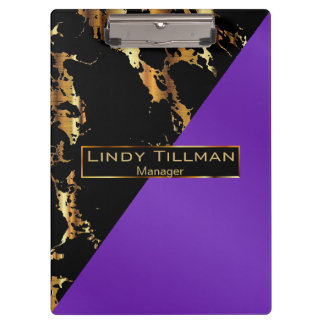 Purple, Black and Gold Marble Design Clipboard