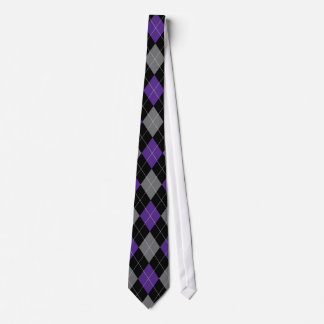 Purple, Black, and Grey Argyle Pattern Tie