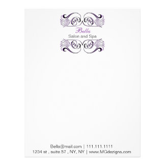 Purple black and white Chic Business letterheads Customized Letterhead